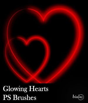 Glowing Hearts PS Brushes 2D Graphics biala