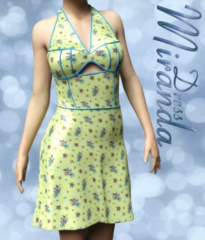 Miranda Dress for G3F 3D Figure Assets chasmata
