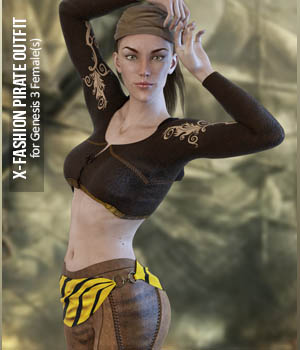 X-Fashion Pirate Outfit for Genesis 3 Female(s) 3D Figure Assets xtrart-3d