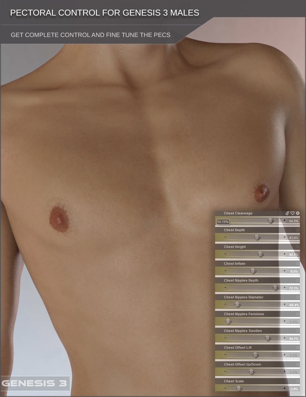 Pectoral Control for Genesis 3 Male Based Characters
