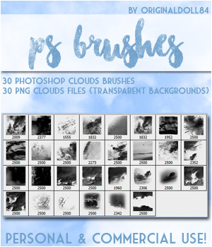 PS Brushes: Clouds 2D Graphics Merchant Resources MarieMcKennaDesigns