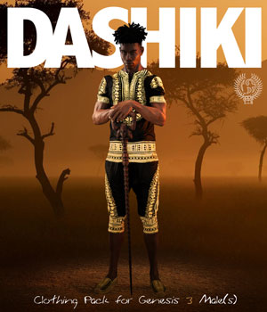 DASHIKI Pack for Genesis 3 Males 3D Figure Assets samsil