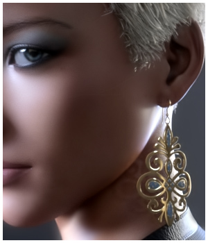 GCD Jewelry - Earrings Collection 1 for G3F 3D Figure Assets GrayCloudDesign
