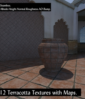 12 Seamless Terracotta Tiles and Texture Maps 2D Graphics Extended Licenses nelmi