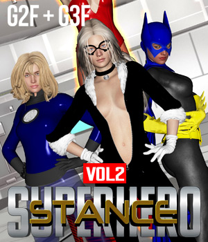 SuperHero Stance for G2F & G3F Volume 2 3D Figure Assets GriffinFX
