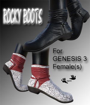 Rocky Boots for G3F 3D Figure Assets zachary