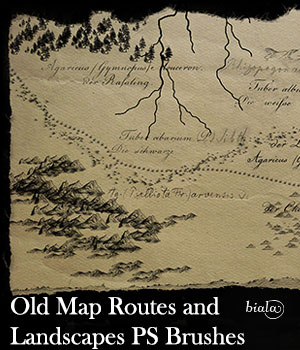Old Map Routes and Landscapes PS Brushes 2D Graphics biala