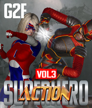 SuperHero Action for G2F Volume 3 3D Figure Assets GriffinFX