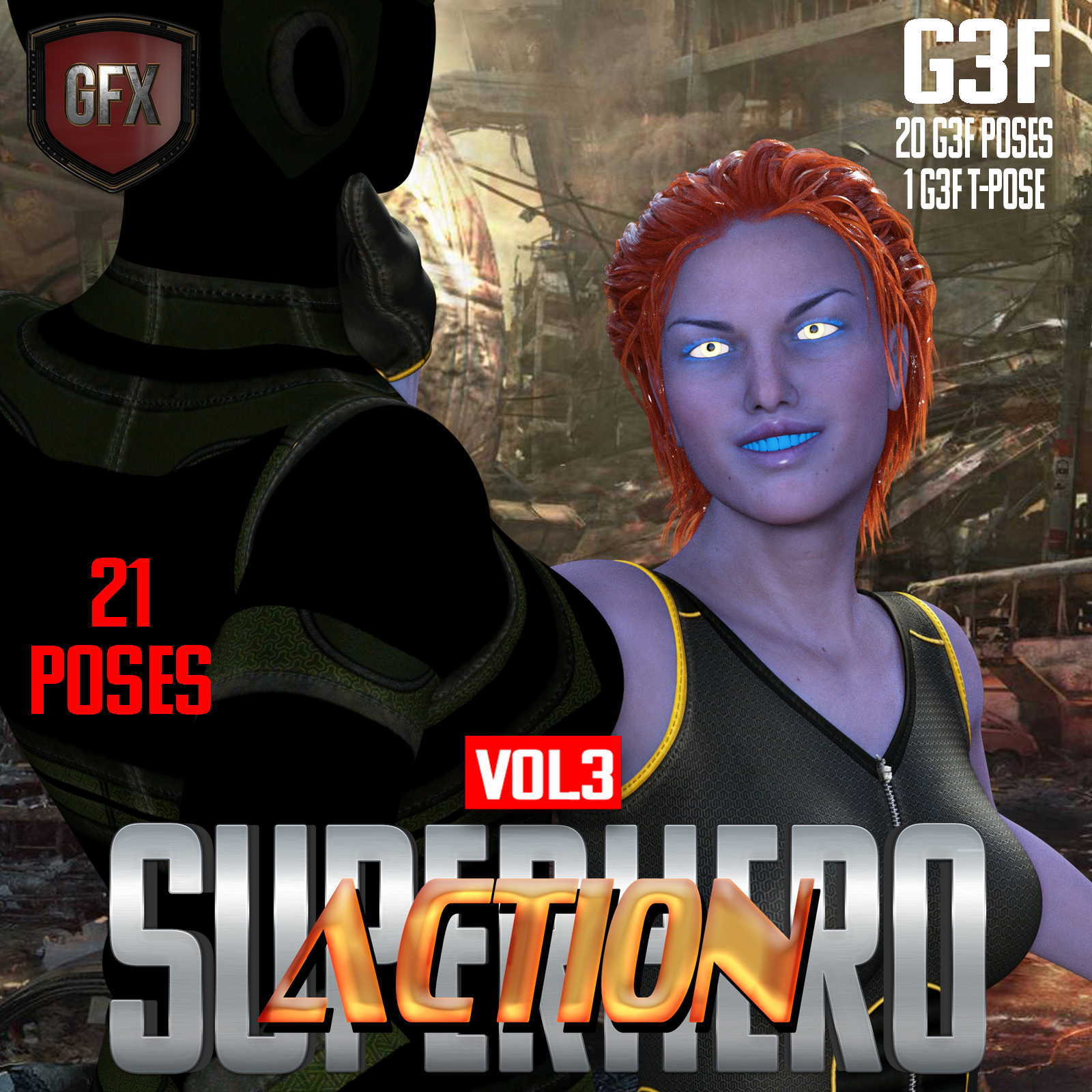 SuperHero Action for G3F Volume 3 by GriffinFX