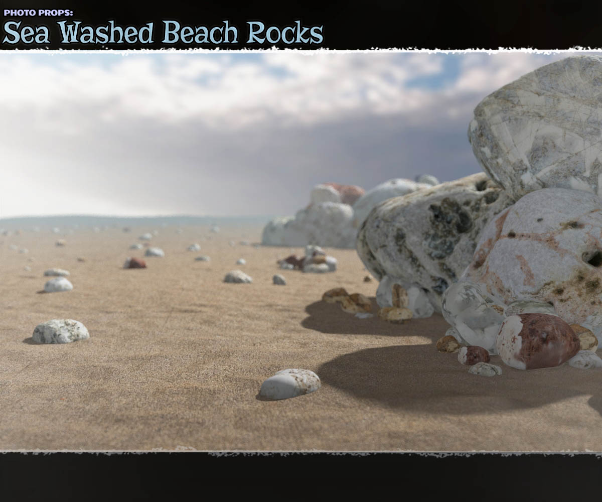 Photo Props: Sea Washed Beach Rocks - Extended License