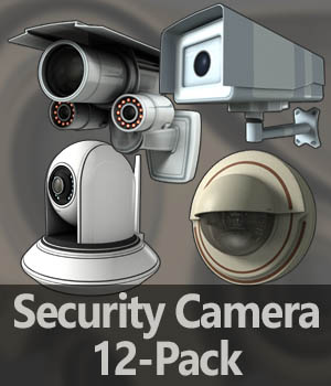 Security Cameras 12-Pack - Extended License 3D Game Models : OBJ : FBX 3D Models Extended Licenses thundering1