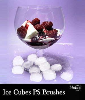 Ice Cubes PS Brushes 2D Graphics biala