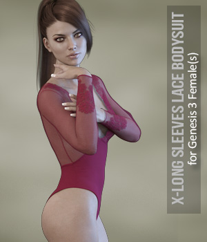 X-Fashion Long Sleeves Bodysuit for Genesis 3 Females 3D Figure Assets xtrart-3d