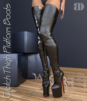 DANGERHEELS - Crotch Thigh Platform Boots 3D Figure Assets bigdreams