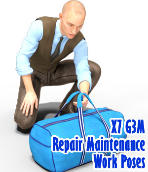 X7 G3M Repair Maintenance Work Poses 3D Figure Assets x7