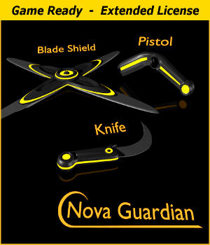 NOVA GUARDIAN Weapon Set - Extended License 3D Game Models : OBJ : FBX 3D Models Extended Licenses Winterbrose