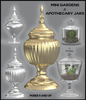 Mini Gardens and Apothecary Jars for Poser 3D Models 3D_Style