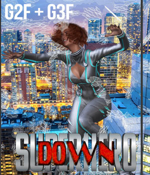 SuperHero Down for G2F & G3F Volume 1 3D Figure Assets GriffinFX