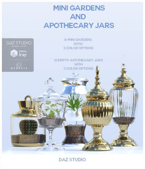 Mini Gardens and Apothecary Jars for Daz Studio 3D Models 3D_Style