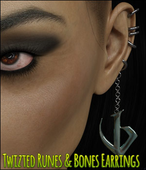 Twizted Runes & Bones Earrings 3D Figure Assets TwiztedMetal
