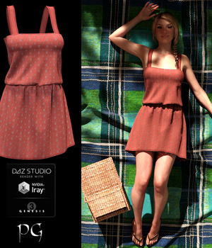 Rustic Country Dress for G3F 3D Figure Assets PsychoGinger