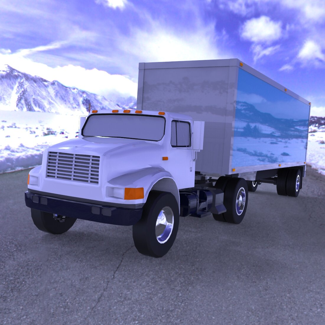 Truck with Trailer for Wavefront OBJ - Extended License by Digimation_ModelBank