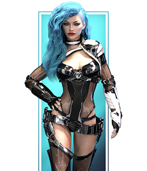 Aurora Armor Iray Materials and Aurora Head Morph 3D Figure Assets benalive