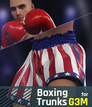 Boxing Trunks G3M for Genesis 3 Male 3D Figure Assets gravureboxing