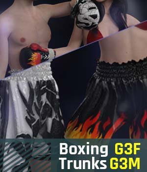 Boxing Trunks G3 Pack for Genesis 3 Female And Genesis 3 Male 3D Figure Assets gravureboxing