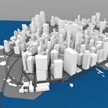 Lower Manhattan Cityscape - 3ds and obj - Extended License image 4