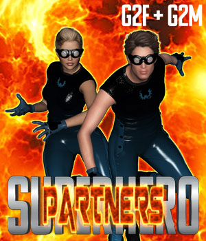 SuperHero Partners for G2F and G2M Volume 1 3D Figure Assets GriffinFX