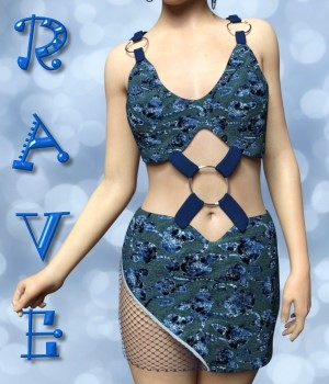 Rave Dress for G3F and  V7 3D Figure Assets chasmata
