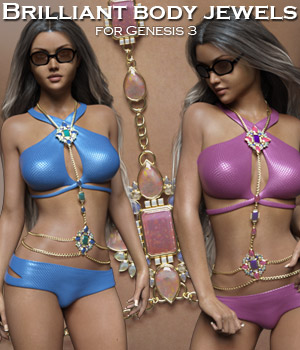 Brilliant Body Jewels for the G3 Female 3D Figure Assets 3D Models RPublishing