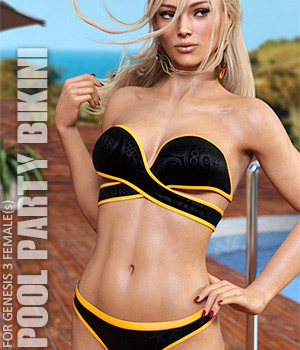 Pool Party Bikini for Genesis 3 Females 3D Figure Assets lilflame