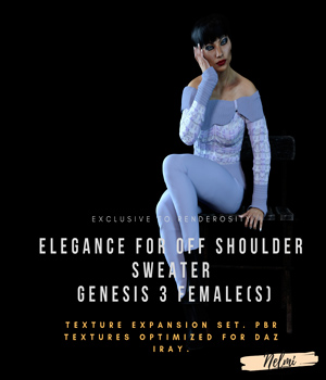 Elegance for Off Shoulder Sweater for Genesis 3 Female