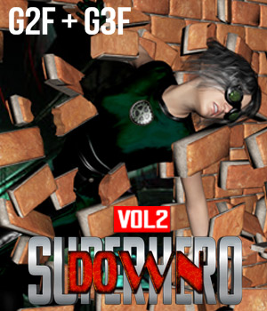SuperHero Down for G2F & G3F Volume 2 3D Figure Assets GriffinFX