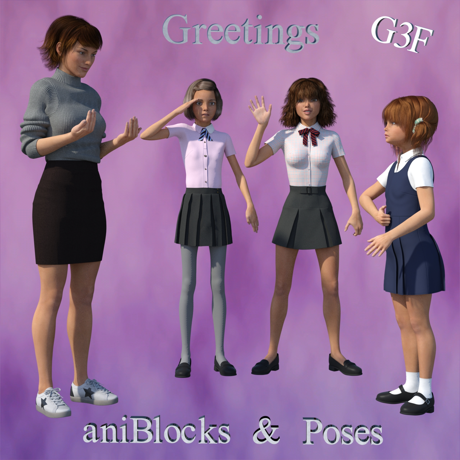 BSL ASL Greetings - aniBlocks and Poses for G3F