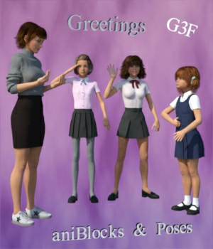 BSL ASL Greetings - aniBlocks and Poses for G3F 3D Figure Assets WorkmanJC