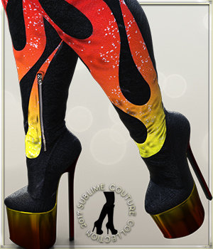 NYC Couture: DANGERHEELS Crotch Thigh Platform Boots 3D Figure Assets 3DSublimeProductions