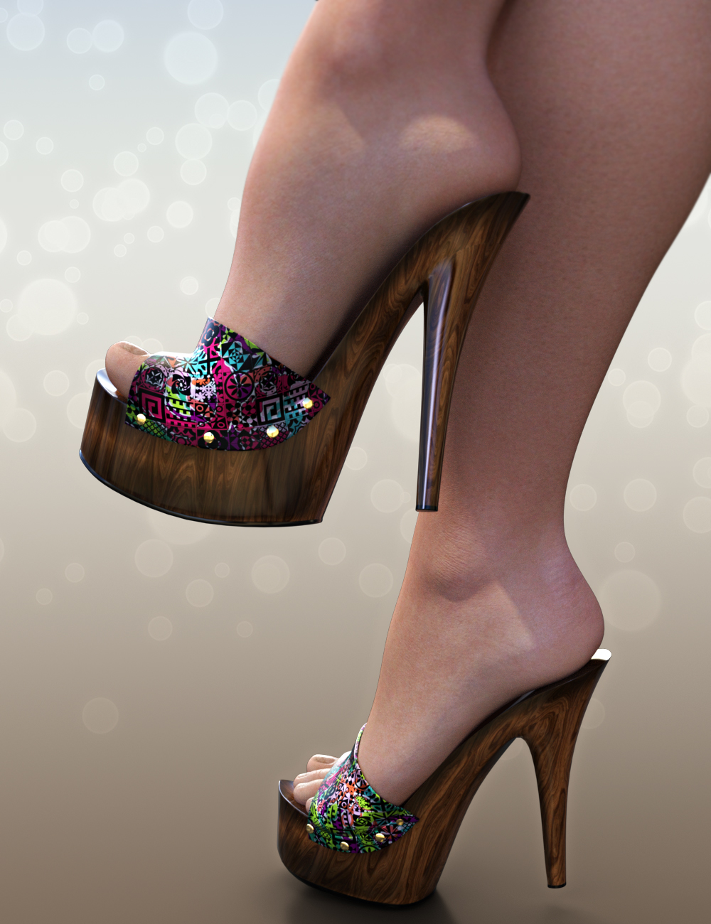 75dab6661fb1 NYC Couture  Wood Mules Genesis 3 Female 3D Figure Assets  3DSublimeProductions