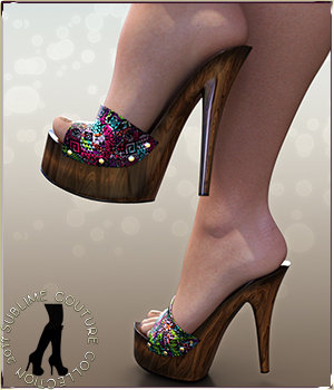 NYC Couture: Wood Mules Genesis 3 Female 3D Figure Assets 3DSublimeProductions