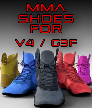 MMA Shoes for Genesis 3 Females and Victoria 4 3D Figure Assets 3OID