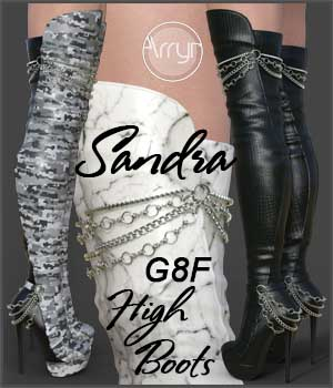 Sandra High Boots for Genesis 8 Female 3D Figure Assets Onnel