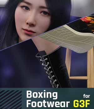 Boxing Footwear G3F for Genesis 3 Female 3D Figure Assets gravureboxing