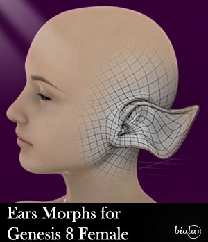 Ears Morphs for G8F 3D Figure Assets biala