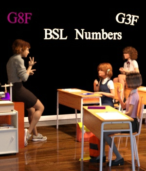 BSL Number Poses for G3F and G8F 3D Figure Assets WorkmanJC