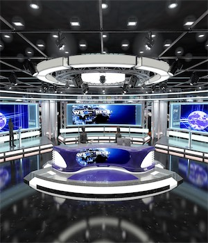 Virtual TV Studio News Set 1 3D Game Models : OBJ : FBX 3D Models Extended Licenses akeryilmaz