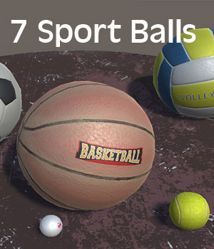 Sport Ball Items - Extended License 3D Game Models : OBJ : FBX 3D Models Extended Licenses KRBY