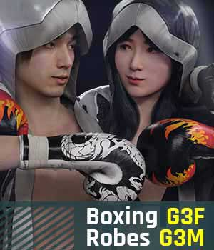 Boxing Robes G3 Pack for Genesis 3 Female and Male 3D Figure Assets gravureboxing
