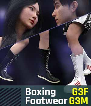 Boxing Footwear G3 Pack for Genesis 3 Female & Male 3D Figure Assets gravureboxing